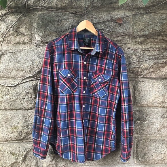 J. Crew Men's Heavy Weight Flannel Plaid Large